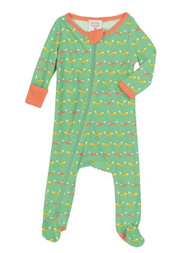 Green Teeny Foxes Infant Blanket Sleeper