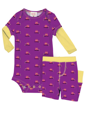 Teeny Owls Infant Two-Fer Rib Romper and Pant Set