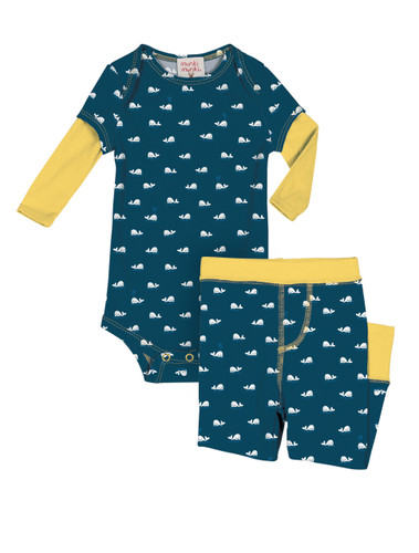 Teeny Whales Infant Romper and Pant Set
