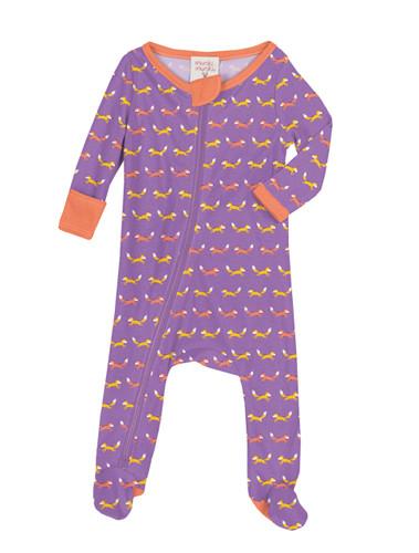 Teeny Foxes Infant Zip Front Rib Blanket Sleeper