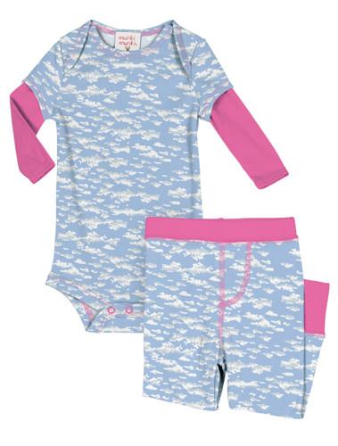 Clouds Infant Two-Fer Rib Romper and Pant Set