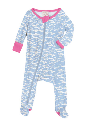 Clouds Infant Zip Front Rib Blanket Sleeper