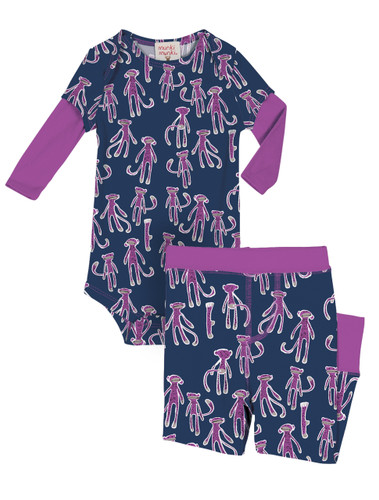 Sock Monkey Infant Two-Fer Rib Romper and Pant Set