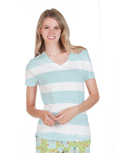 Blue Garment Dyed Stripe T-Shirt