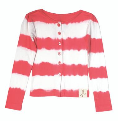 Tie Dye Stripe Red Cardigan Playwear