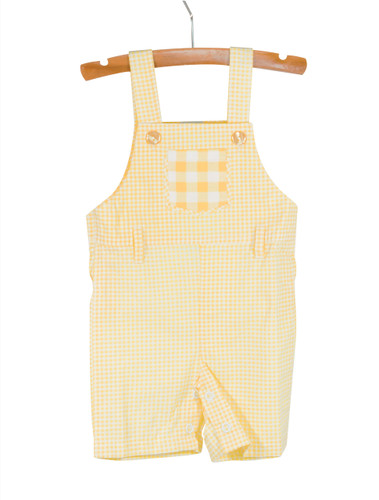 Gingham Yellow Overalls Playwear