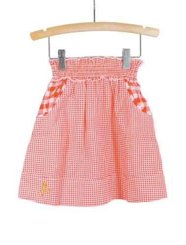 Red Smocked Waist Gingham Skirt
