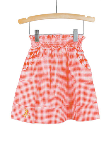Red Smocked Waist Gingham Skirt