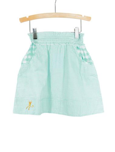 Blue Smocked Waist Gingham Skirt