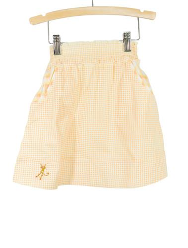 Yellow Smocked Waist Gingham Skirt