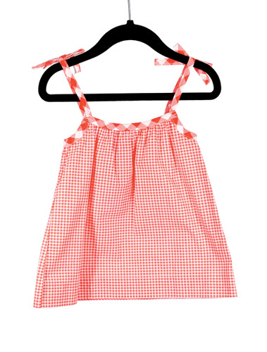Gingham Red Bow Tie Strap Tank Playwear