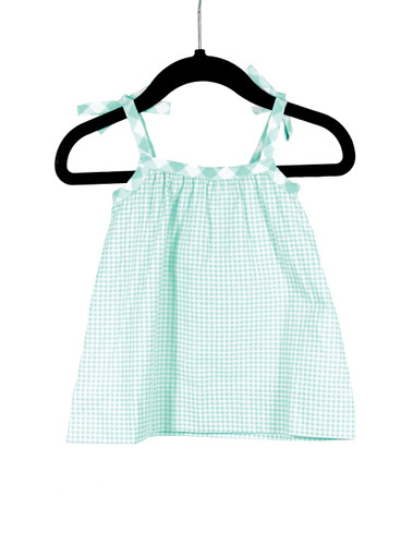 Gingham Blue Bow Tie Strap Tank  Playwear