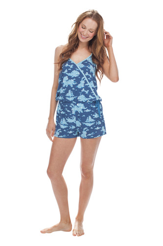 Cloud Formations Jersey Surplice Tank and Short Romper