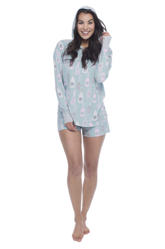 Champagne Jersey Hoodie and Shorts PJ Set