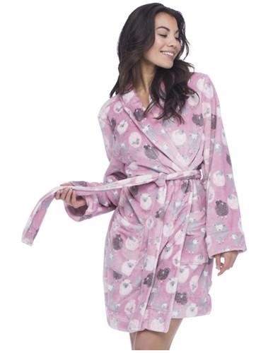 Pink Black Sheep Long Sleeve Robe with Pockets