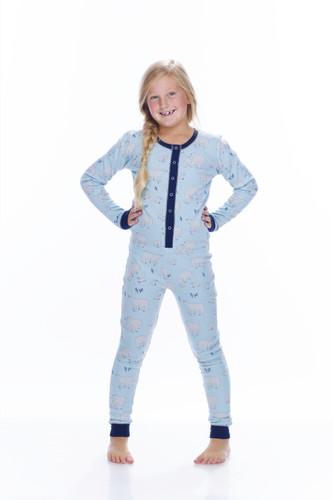 Blue Polar Bears Thermal Kids Union suit