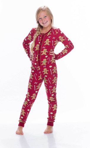 Red Gingerbread Thermal Kids Union Suit