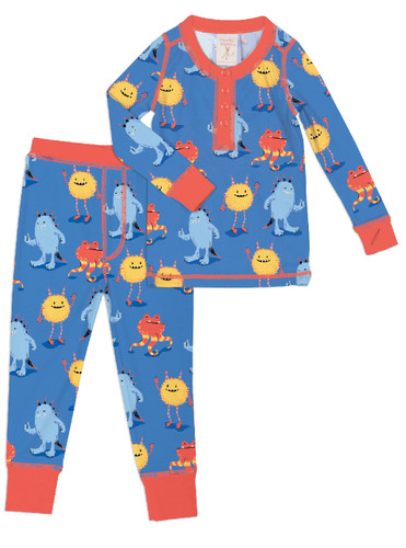 Furry Monsters Kids Long John PJ Set