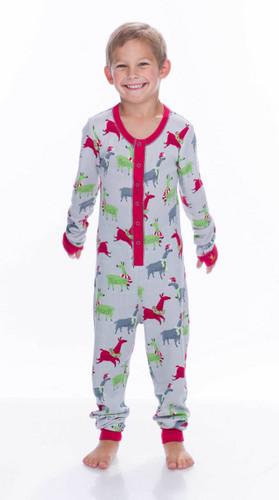 Light Gray Llamas Thermal Kids Union Suit
