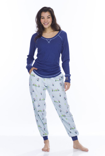 Light Blue Snow Gnomes Top and Flannel Jogger