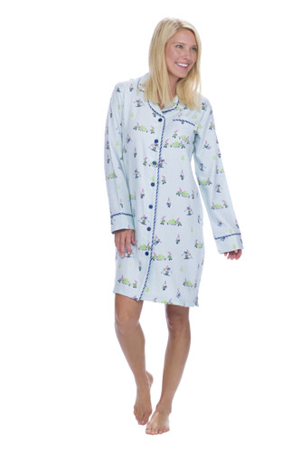 Light Blue Snow Gnome Flannel Night Shirt