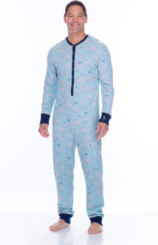 Blue Polar Bears Men's Thermal Long Sleeve Union Suit