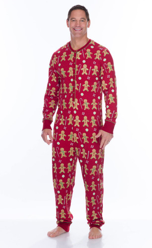 Red Gingerbread Men's Thermal Long Sleeve Union Suit