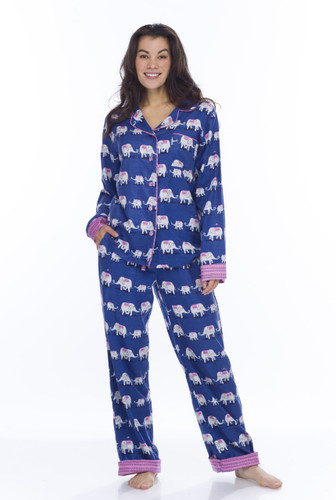 Navy Elephants Flannel Classic PJ