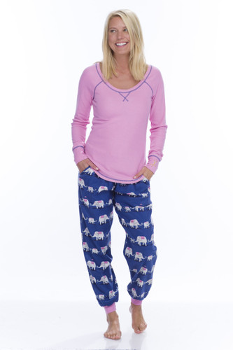 Elephant Parade Flannel Jogger PJ Set
