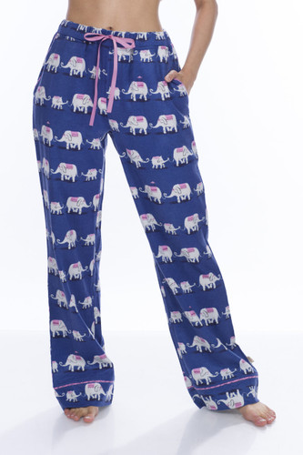 Navy Elephants Flannel Pant