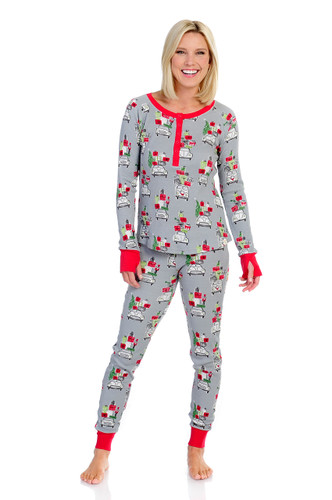 X-Mas Shopping Womens Thermal  Long John PJ Set