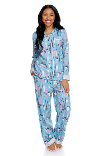 Vintage Skiing Women's Flannel Classic Set