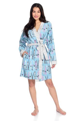 Vintage Skis Flannel Robe