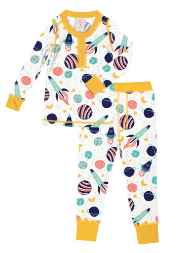 Spaceships Kids Long John PJ Set