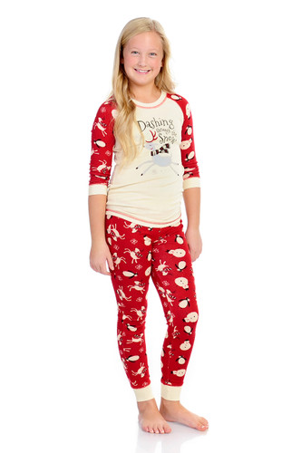 Dashing Through the Snow Kids Long John PJ Set