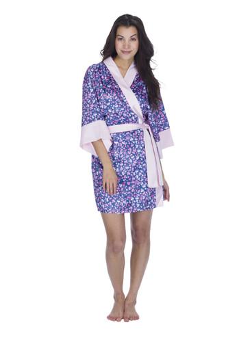 Rosé Flowers Women's Satin Kimono Robe