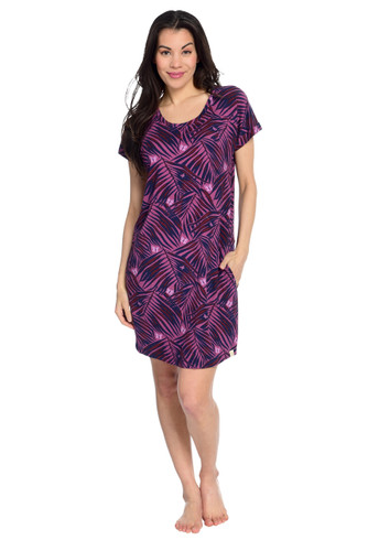Palm Fronds Women's Short Sleeve Nightgown