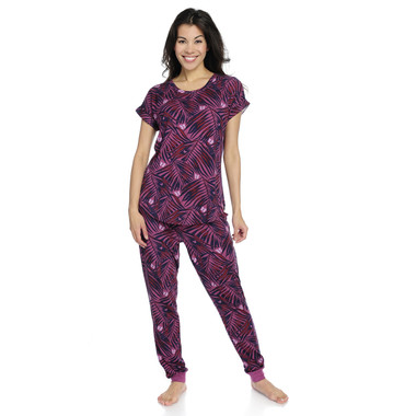 Palm Fronds Women's Jersey Short Sleeve Tee and Jogger Set