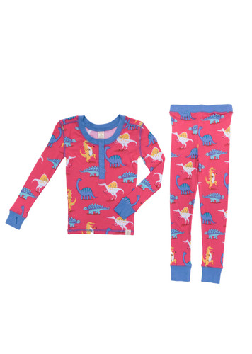 Dino Party Kids Long Sleeve Henley with Thumbholes and Long John PJ Set