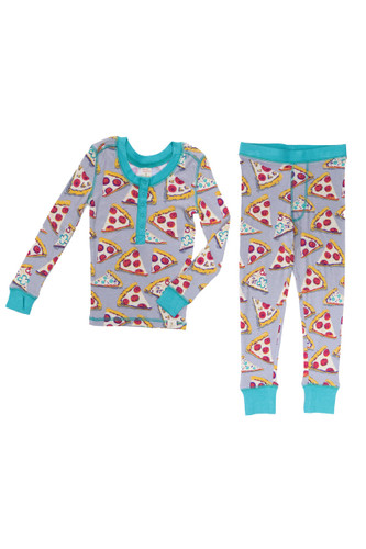 90's Pizza Party Kids Long Sleeve Henley with Thumbholes and Long John PJ Set