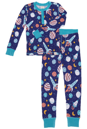 Spaceship Kids Long John PJ Set