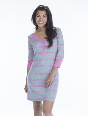 Pink Tie Dye Henley Nightshirt