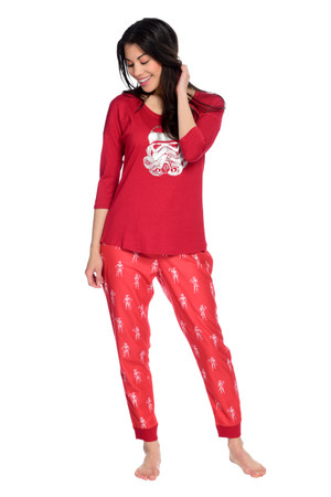 Stormtrooper Candy Cane Womens Sparkle Fleece Jogger PJ Set