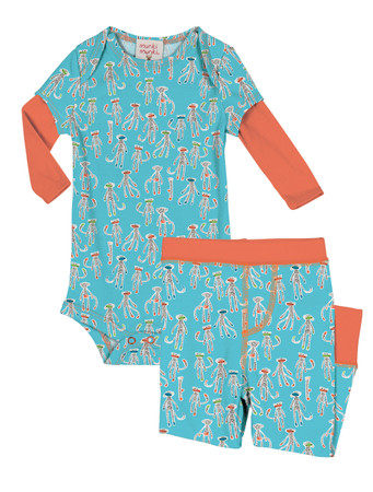 Sock Monkey Infant Romper and Pant PJ Set