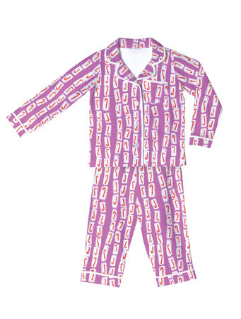 Pink Candy Canes Kids Flannel Classic PJ Set