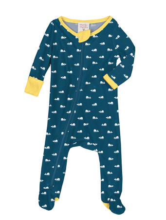 Teeny Whales Infant Zip Front Rib Blanket Sleeper