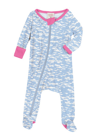 Clouds Infant Zip Front Rib Blanket Sleeper