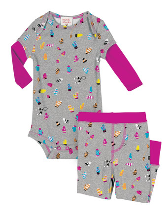 Teeny Mittens Infant Two-Fer Rib Romper and Pant Set