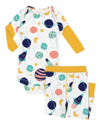 Spaceships Infant Two-Fer Rib Romper and Pant Set