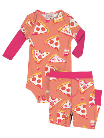 Pizza Night Infant Two-Fer Rib Romper and Pant Set
